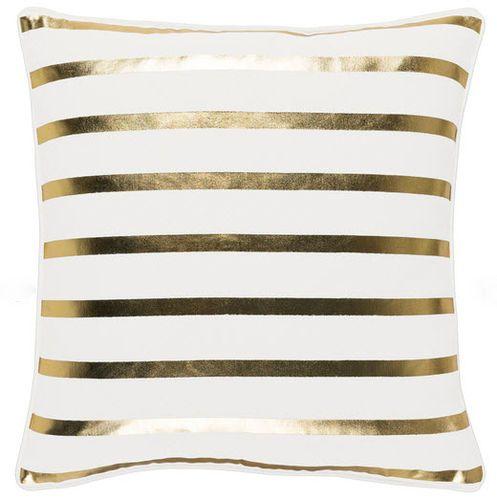 White & Gold Glam Stripe Pillow