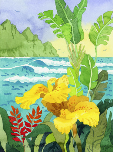 Yellow Cannae and Waves Beach Print