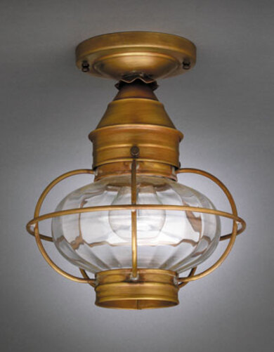 9 Onion Flush Mount Light Fixture with Caged Optic Globe <font color=a8bb25> Sold Out</font>