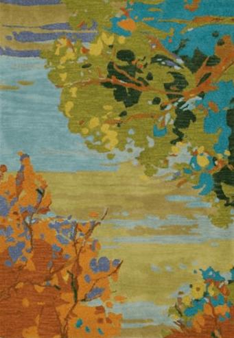 Landscape Teal Hand Tufted Rug
