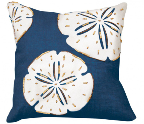 Navy Sand Dollar Beaded Applique Indoor Pillow