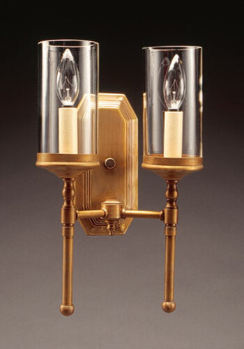2-Lite Wall Sconce with 3 x 6 Clear Glass Cylinder