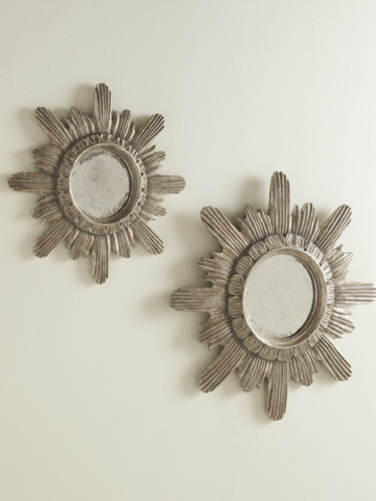 Spanish Starburst Mirror Silver Leaf  in Two sizes <font color=cf2317>Discontinued</font>