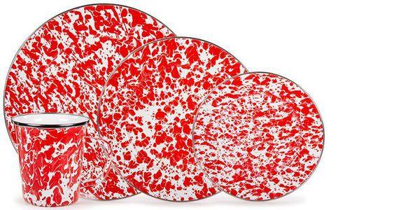 Red Swirl Enamel Dinner Set