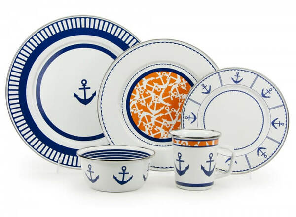 Eden Roc Enamel Dinner and Serving Sets Limited Stock  sc 1 st  Cottage u0026 Bungalow & Beach Themed Anchor Enamel Dinner Dishes u0026 Serving Sets - Cottage ...
