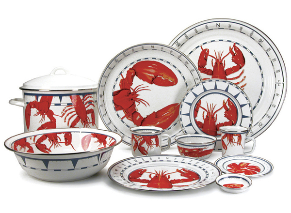 sc 1 st  Cottage u0026 Bungalow & Beach Themed Lobster Enamel Dinner Set for Sale - Cottage u0026 Bungalow