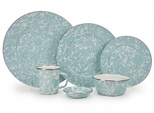 Beach Themed Seaglass Teal Enamel Dinner Set For Sale