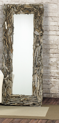 Handcrafted Driftwood Latigo Floor Mirror