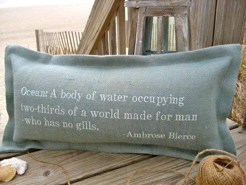 Ocean: A Body Of Water Coastal Phrase Pillow