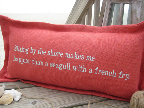 Sitting By The Shore Coastal Phrase Pillow