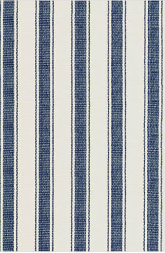 Dash and Albert Blue Awning Stripe Cotton Rug