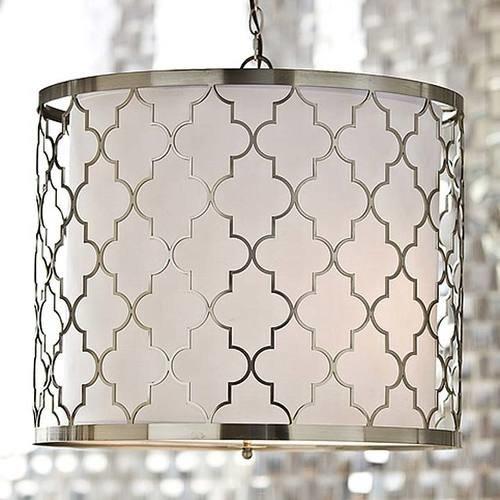 Brushed Nickel Patterned Pendant Light