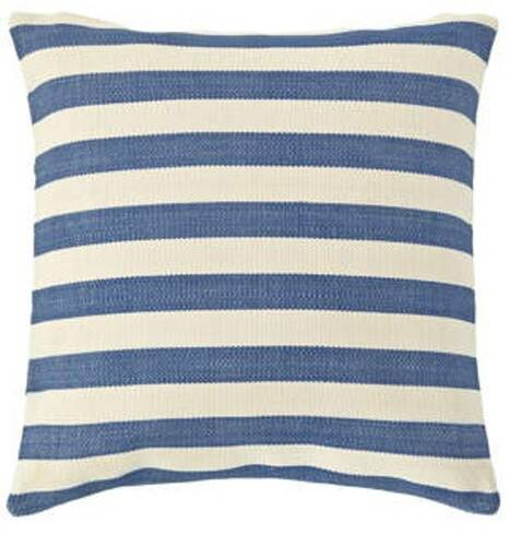 Dash and Albert Trimaran Stripe Denim/Ivory Indoor/Outdoor Pillow