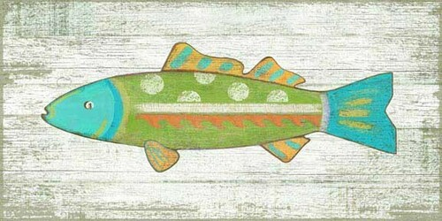 Funky Fish Green Vintage Sign