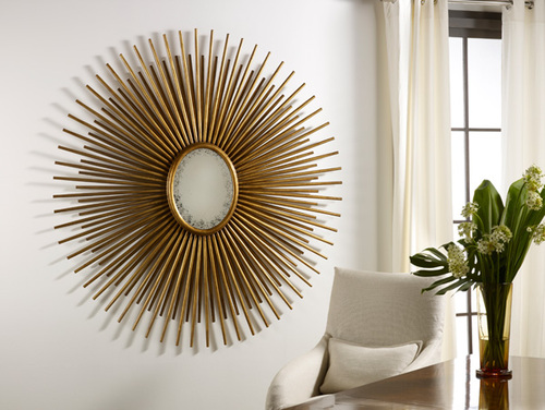 Oval Florentine Starburst Mirror in Gold or Silver Finish