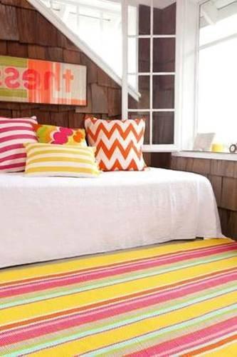 Dash and Albert Happy Yellow Stripe Indoor/Outdoor Rug <font color=CF2317>20% OFF</font>