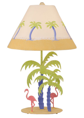 Iron Palm Tree with Flamingos Table Lamp
