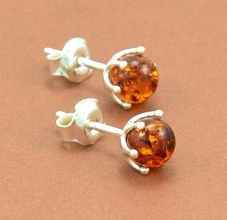 Amber Stud Earrings Made of Precious Baltic Amber