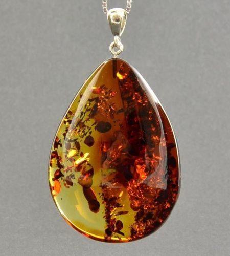 Large Amber Pendant Made of Precious Healing Baltic Amber