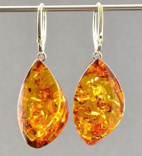 Twisted Leaf Shape Baltic Amber Earrings