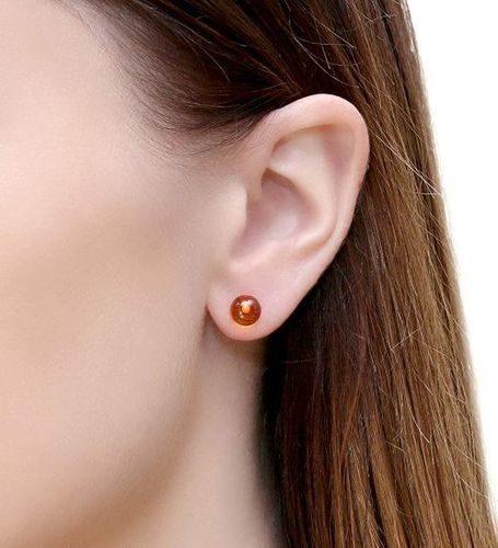 Amber Stud Earrings Made of Precious Healing Baltic Amber