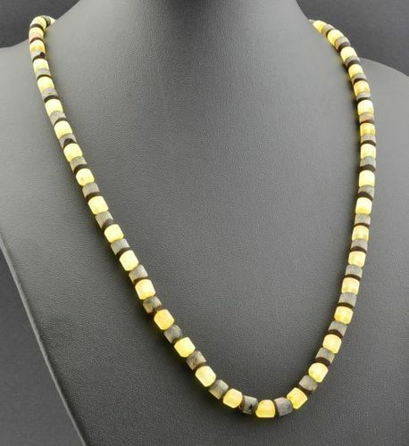 Raw Men's Beaded Necklace Made of Precious Healing Amber