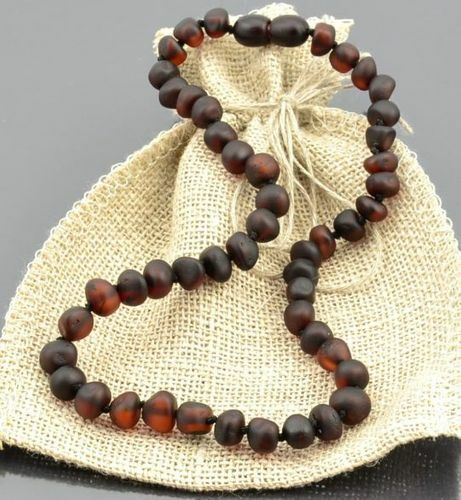 Children's Amber Necklace Made of Matte Cherry Baltic Amber