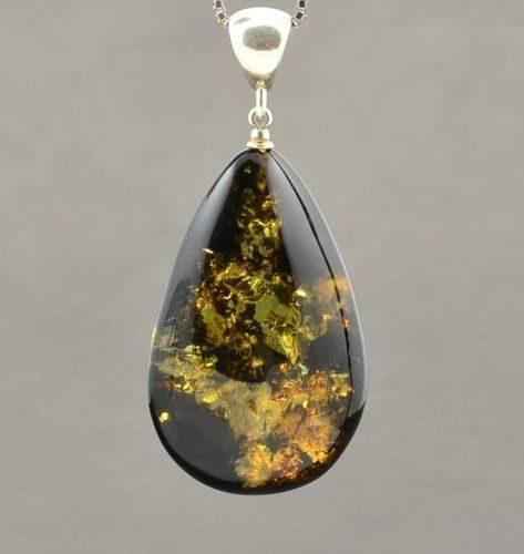 "Green Baltic Amber Pendant ""Earth Stone"""