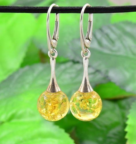 Amber Drop Dangle Earrings Made of Amazing Baltic Amber