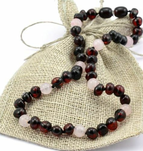 Children's Amber Necklace Made of Baltic Amber and Rose Quartz