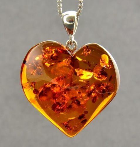 Large Amber Heart Pendant Made of Precious Healing Baltic Amber