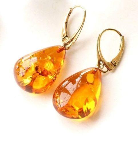 Amber Earrings Handmade of Precious Baltic Amber