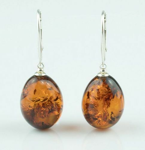 Amber Earrings Made of Cognac Baltic Amber