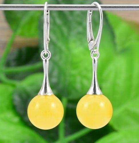 Amber Drop Dangle Earrings Made of Precious Healing Baltic Amber