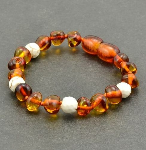 Amber Bracelet Made of Baltic Amber and White Turquoise
