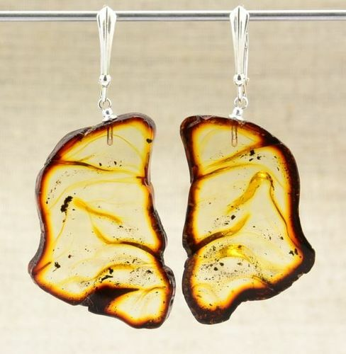 Baltic Amber Slices Cut Into One of a Kind Amber Earrings