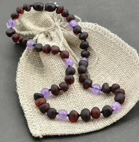 Children's Amber Necklace Made of Matte Baltic Amber and Amethyst