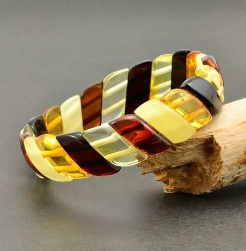 Amber Bracelet Made of Amazing Multicolor Baltic Amber
