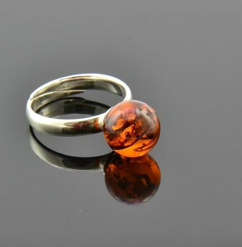 Amber Ring Made of Precious Cognac Baltic Amber