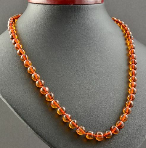Amber Healing Necklace Made of Baroque Cognac Baltic Amber