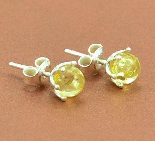 Amber Stud Earrings Made of Lemon Baltic Amber