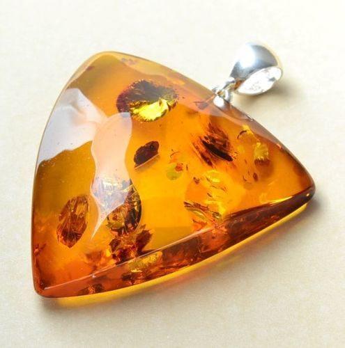 Triangle Shape Amber Pendant Made of Precious Baltic Amber