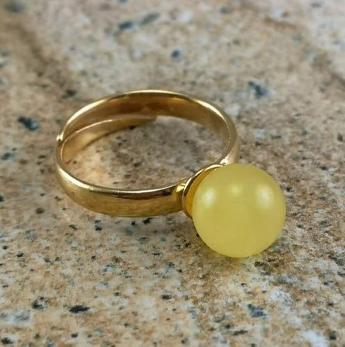 Amber Ring Handmade of Precious Healing Baltic Amber