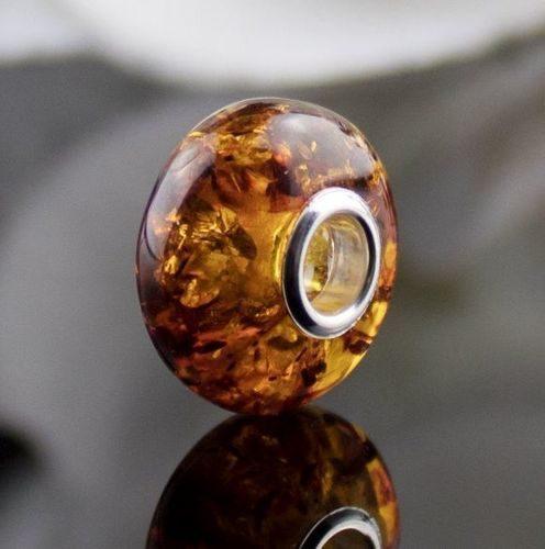 Pandora Style Charm Bead Made of Precious Baltic Amber