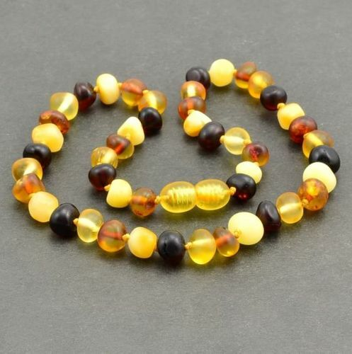 Children's Amber Necklace Made of Matte Baltic Amber