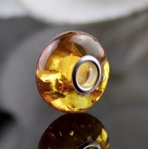 Pandora Style Charm Bead Made of Precious Healing Baltic Amber