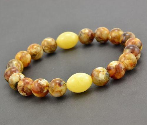 Men's Beaded Bracelet Made of Healing Baltic Amber