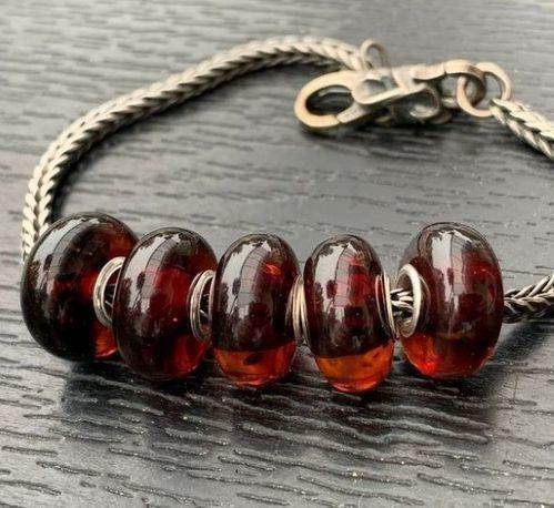 5 Pcs Wholesale Amber Pandora Style Charm Beads