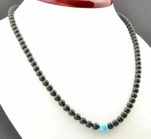 Men's Beaded Necklace Made of Baltic Amber and Turquoise
