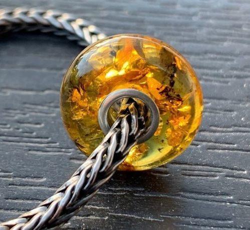 Pandora Style Amber Charm Bead Made of Baltic Amber